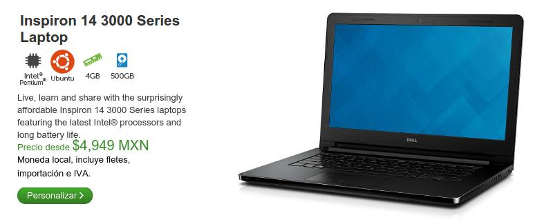 Dell Inspirion 14 series 3000 con ubuntu de venta en mexico