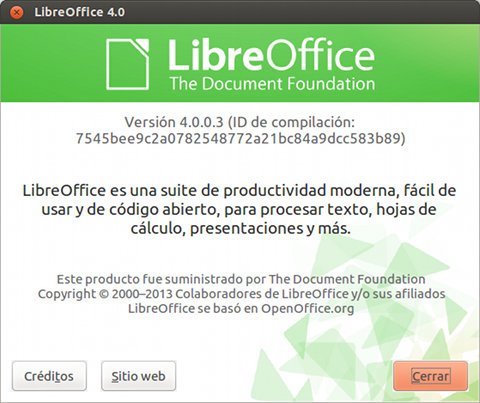 LibreOffice 4.0 Instalado en Ubuntu