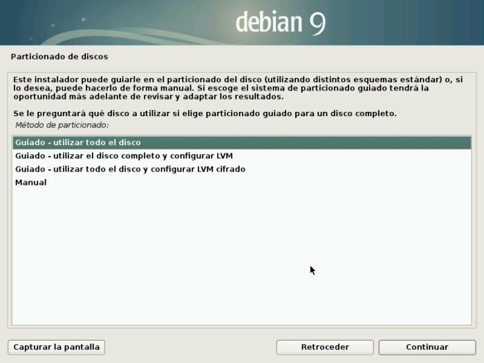 Debian 9 stretch install partions particiones