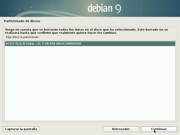 Debian 9 stretch install disk disco seleccionar