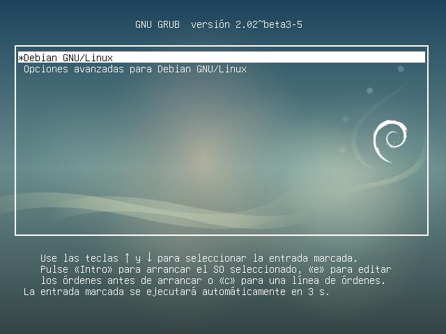 Debian 9 pantalla de inicio