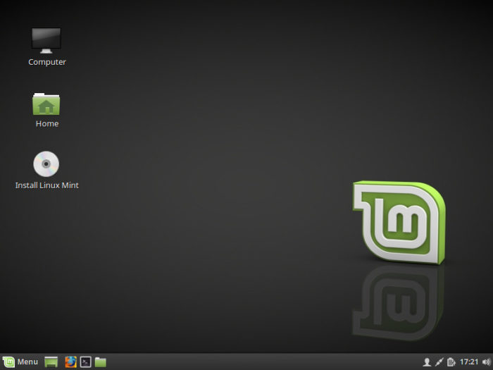 Linux Mint 18.2 initial desktop escritorio inicial icono de instalación linux mint