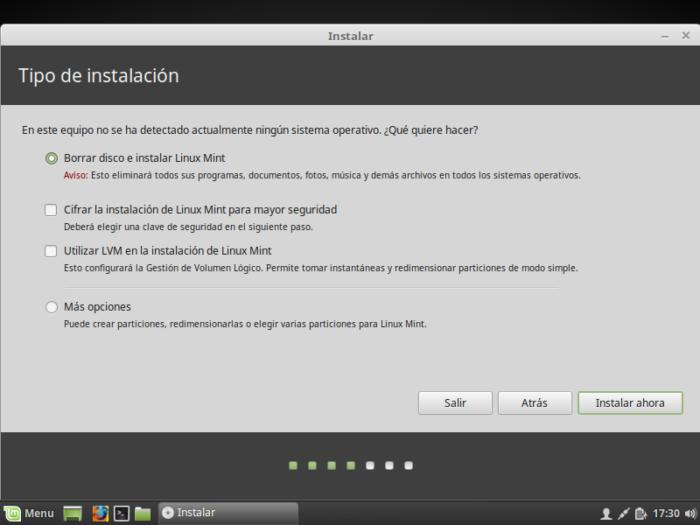 Instalación linux Mint 18.2 instalación en todo el disco