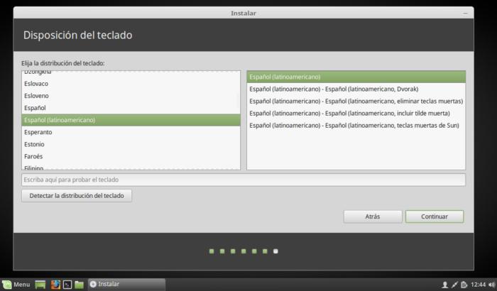 Linux Mint 18.2 selección de teclado español latinoamericano