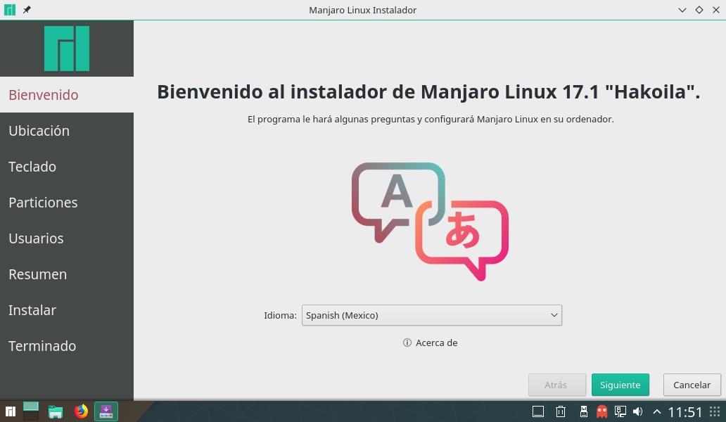 Manjaro Linux instalación instalador Kalamares Bienvenido a Manjaro