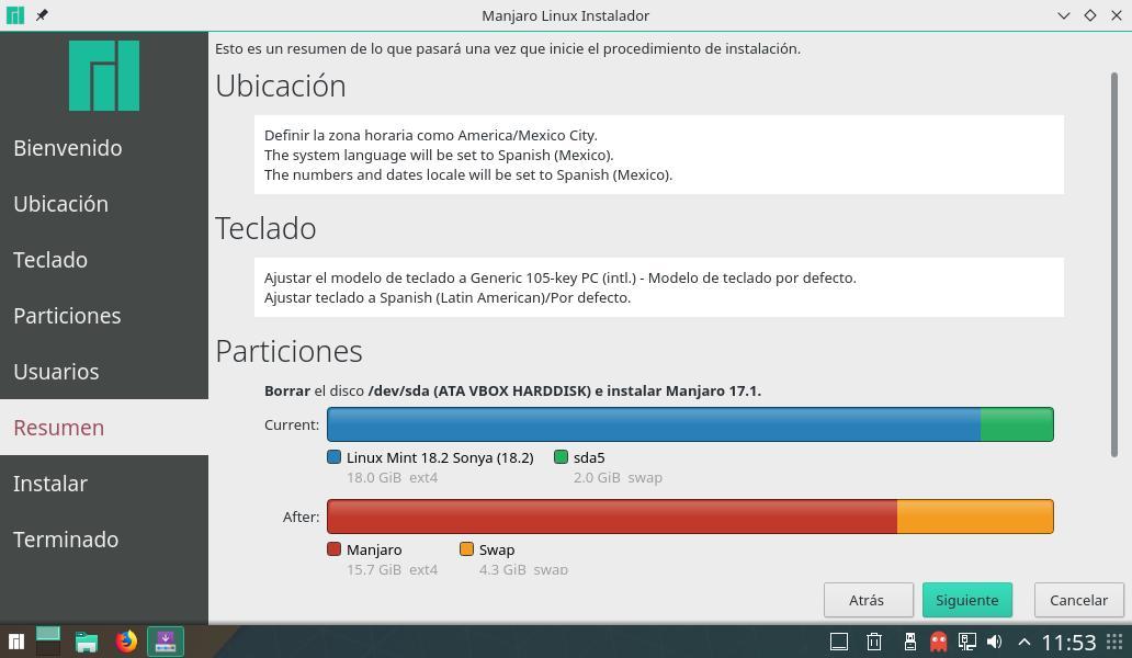 resumen de configuración de instalación de manajaro 17.1.16