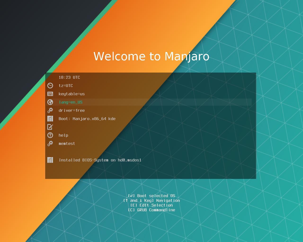 Pantalla de Inicio de instalación de Manjaro KDE