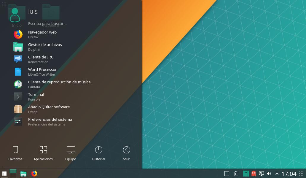 Manjaro 17.1.6 KDE en acción menú de aplicaciones de Manjaro