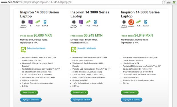 captura de pantalla venta de dell con ubuntu en mexico