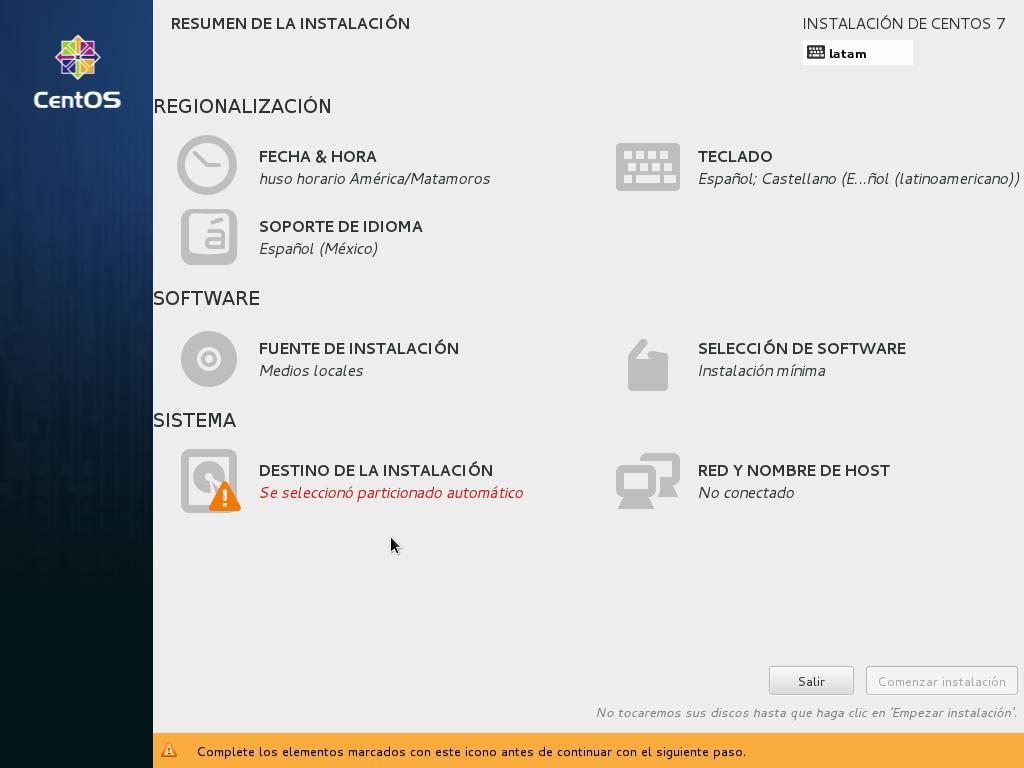 como instalar centos linux como servidor pantalla de configuración