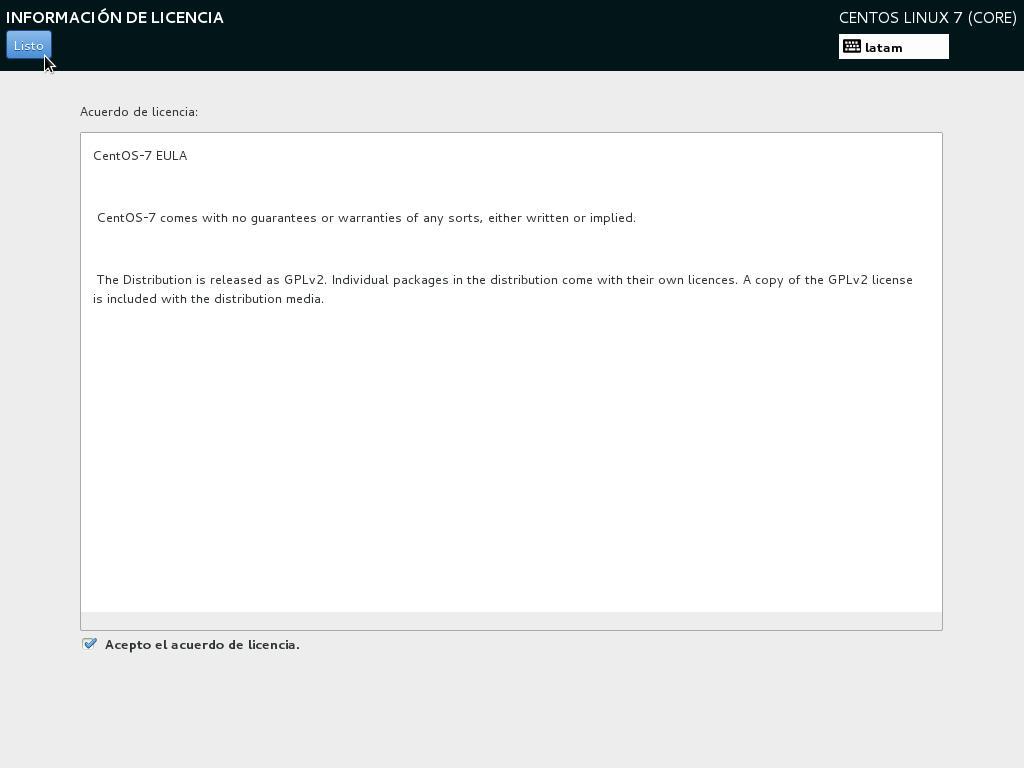 como instalar centos como servidor linux aceptar licencia