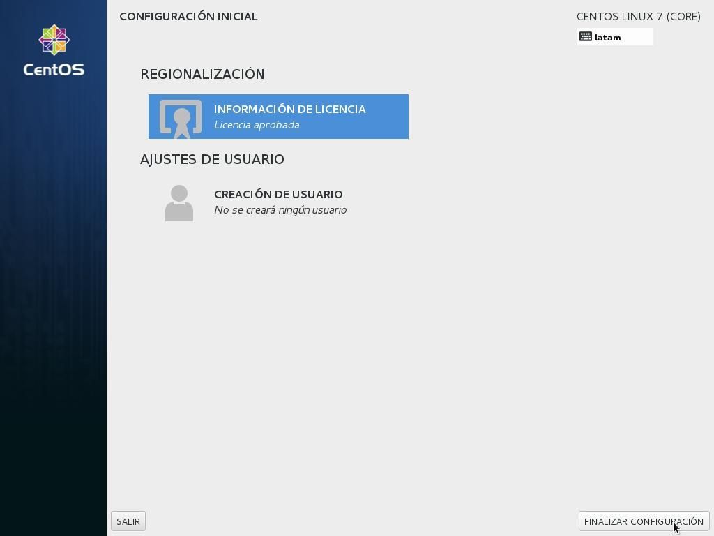 Como instalar centos como servidor linux finalizar la instalación