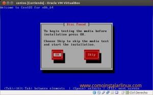 Como instalar Centos 6.4 - Verificación de medio de instalación