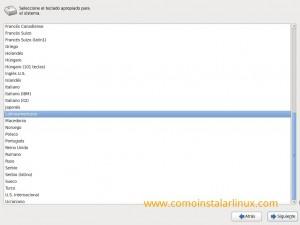Como instalar Centos 6.4 - Selección de distribución de Teclado