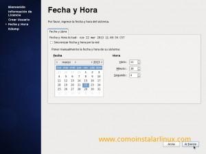Como instalar Centos 6.4 - Fecha y hora del sistema