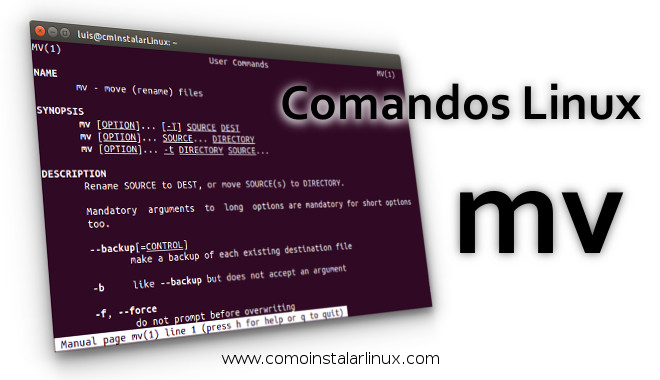 comandos linux mv move rename mover renombrar mv linux