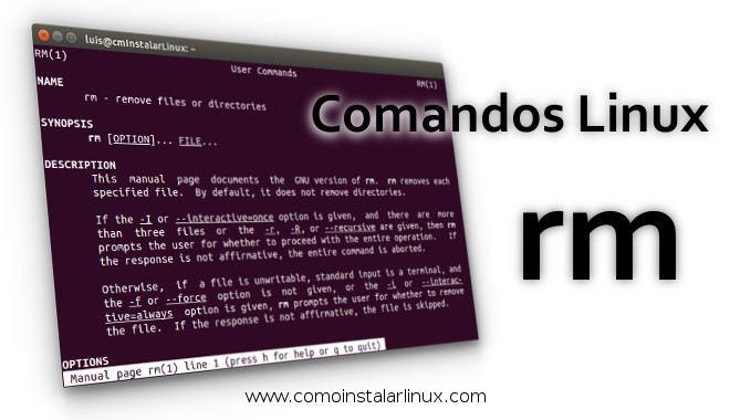 comandos linux rm comando borrar linux comando rm en linux comoinstalarlinux.com