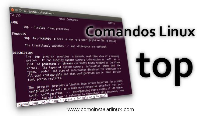 comandos linux top monitorear verificar sistema procesos carga load average memoria