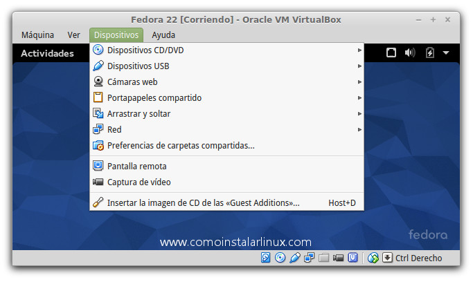 como instalar las virtualbox guest additions en fedora 22 21 20