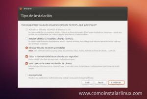 Como Instalar Ubuntu 12.10 opciones de instalacion