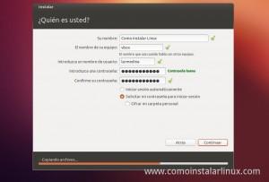 Como Instalar Ubuntu 12.10 datos personales y contraseñas