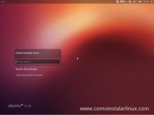 Como Instalar Ubuntu 12.10 Pantalla de inicio de sesion de ubuntu 12.10