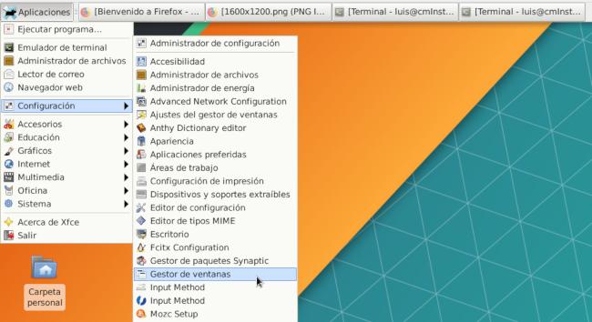 menu xfce 4.12 debian 10 aplicaciones configuracion gestor de ventanas windows manager