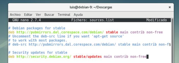 debian 9 configure non free repositories repositorios adicionales