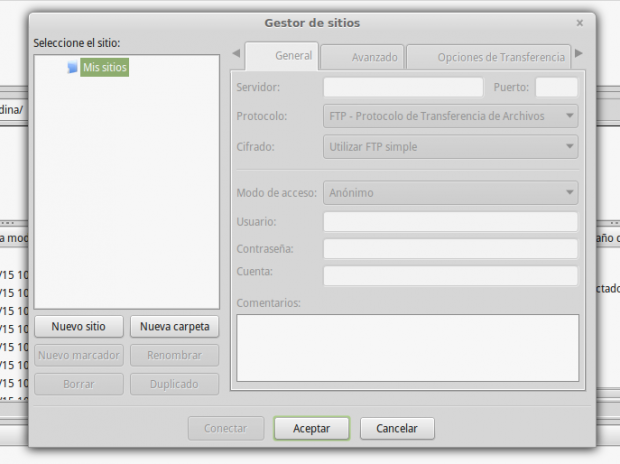 gestor de sitio filezilla encrypted tls cifrado encriptado