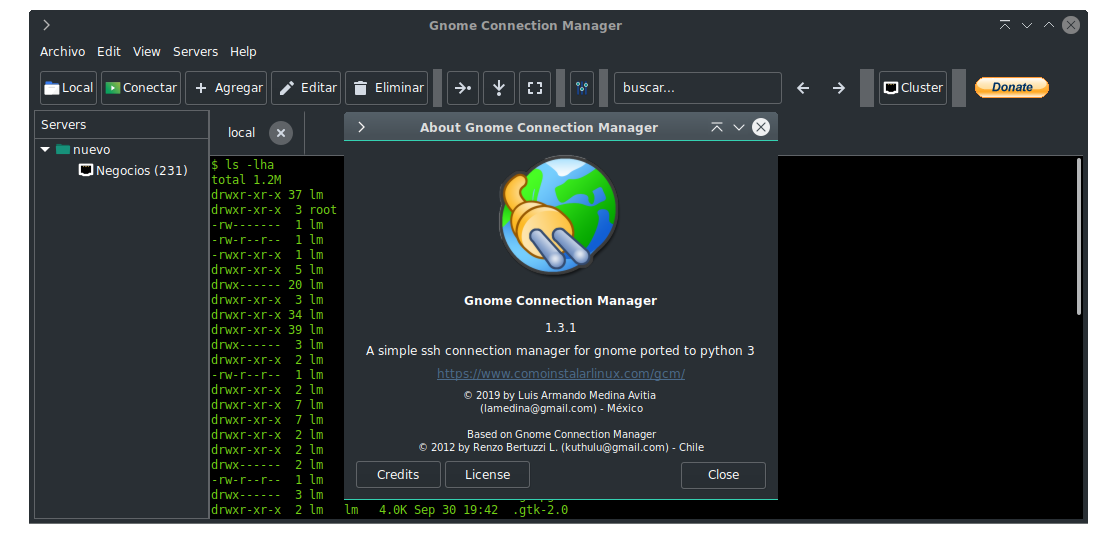 Gnome Connection Manager running on Debian 10 writed on Python 3