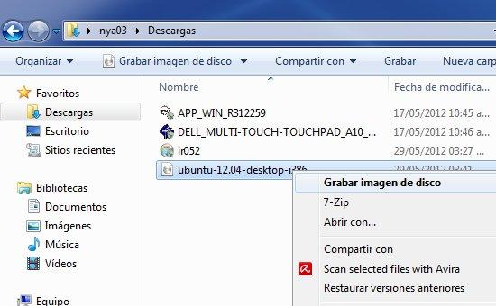 grabar archivo iso en windows