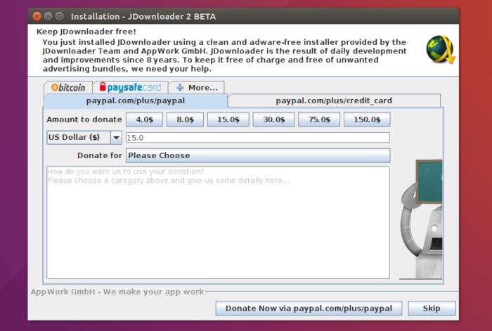 jdownloader2 donation screen install