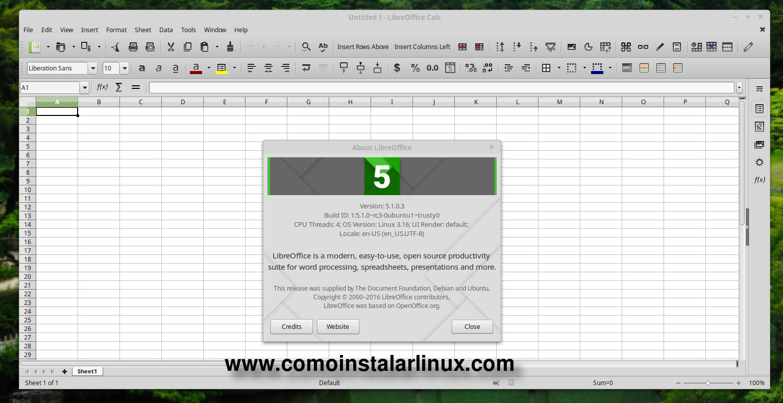 libreofice 5.1 install ubuntu linux mint instalar
