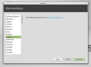 Instalar linux mint 13 Mint Seleccionar Idioma Español