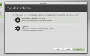 Instalar linux mint 13 Mint Tipo de instalación