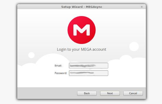 configurar usuario y contraseña en megasync