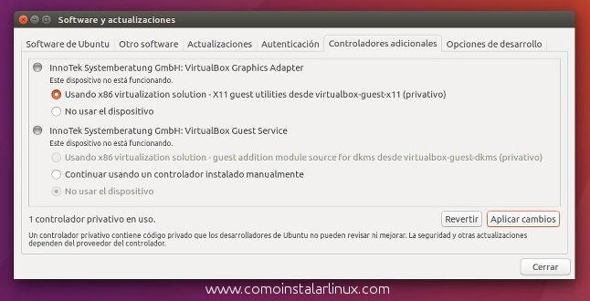 que hacer despues de instalar ubuntu 1604 lts privative drivers controladores adicinoales