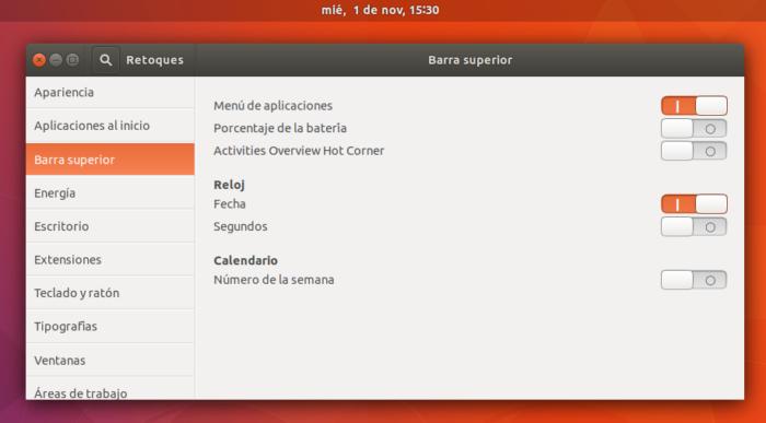 Ubuntu 17.10 mostrar fecha en reloj de la barra central GNOME