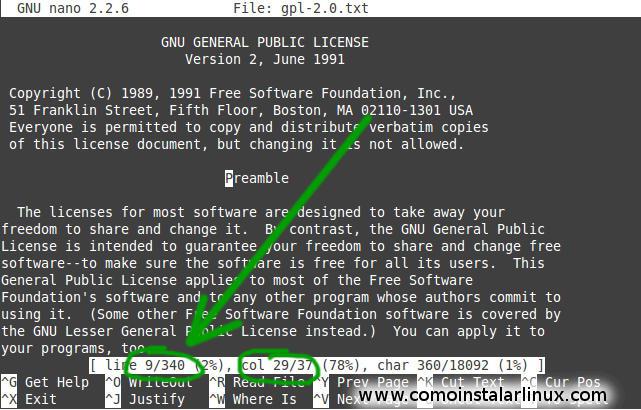 tutotial linux manual linux principiantes editor nano trucos