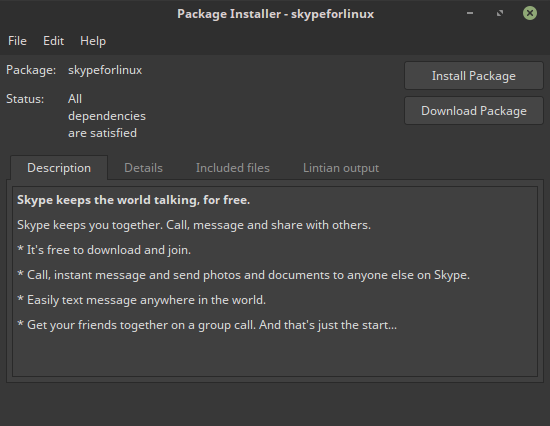 unstal pagakage deb skype for linux