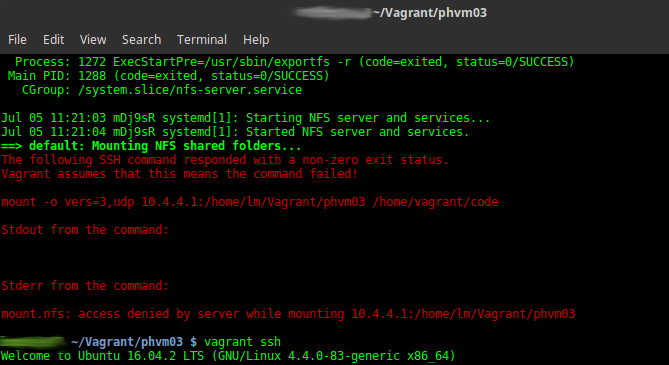 vagrant error mount.nfs: access denied by server while mounting